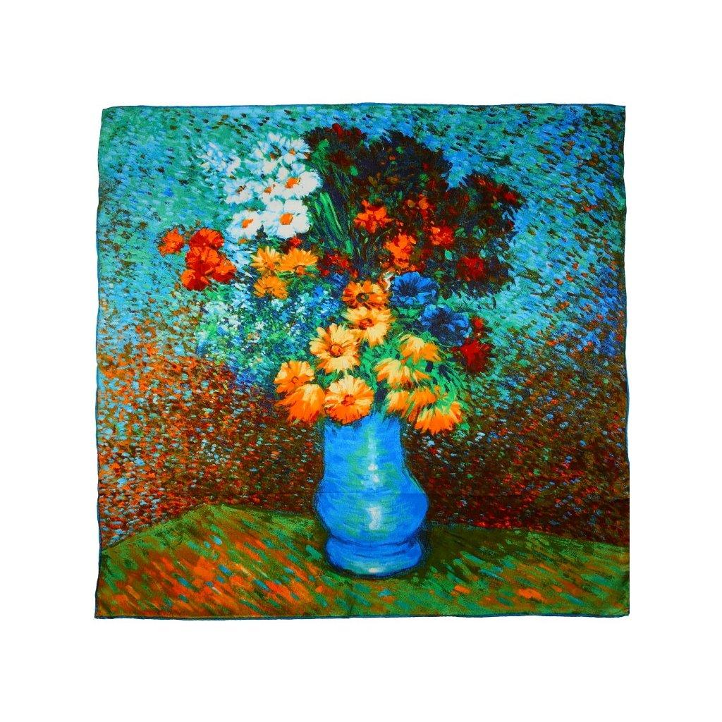 HEDVÁBNÝ ŠÁTEK Van Gogh - Váza kopretin