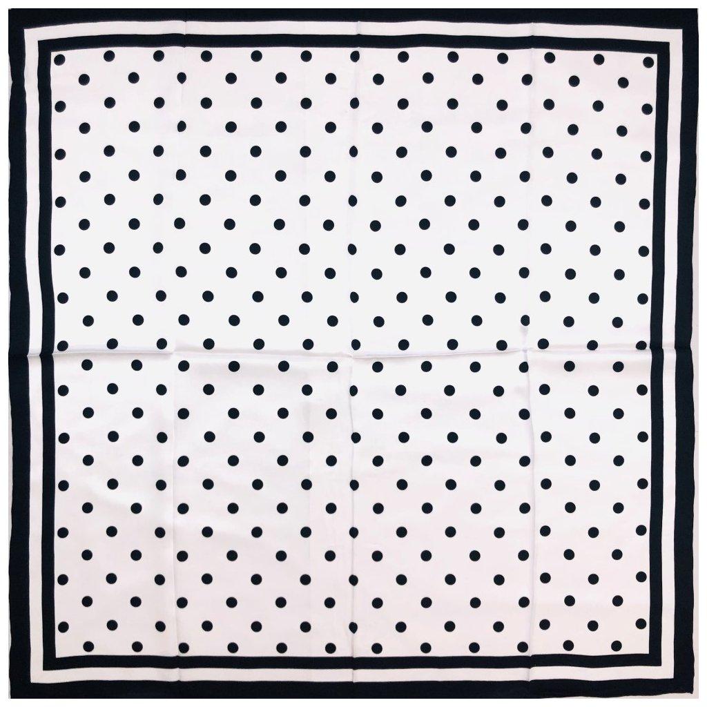 HEDVÁBNÝ ŠÁTEK - Černý puntík