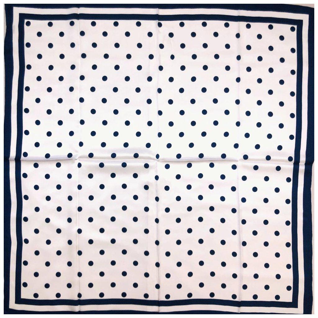 HEDVÁBNÝ ŠÁTEK - Modrý puntík