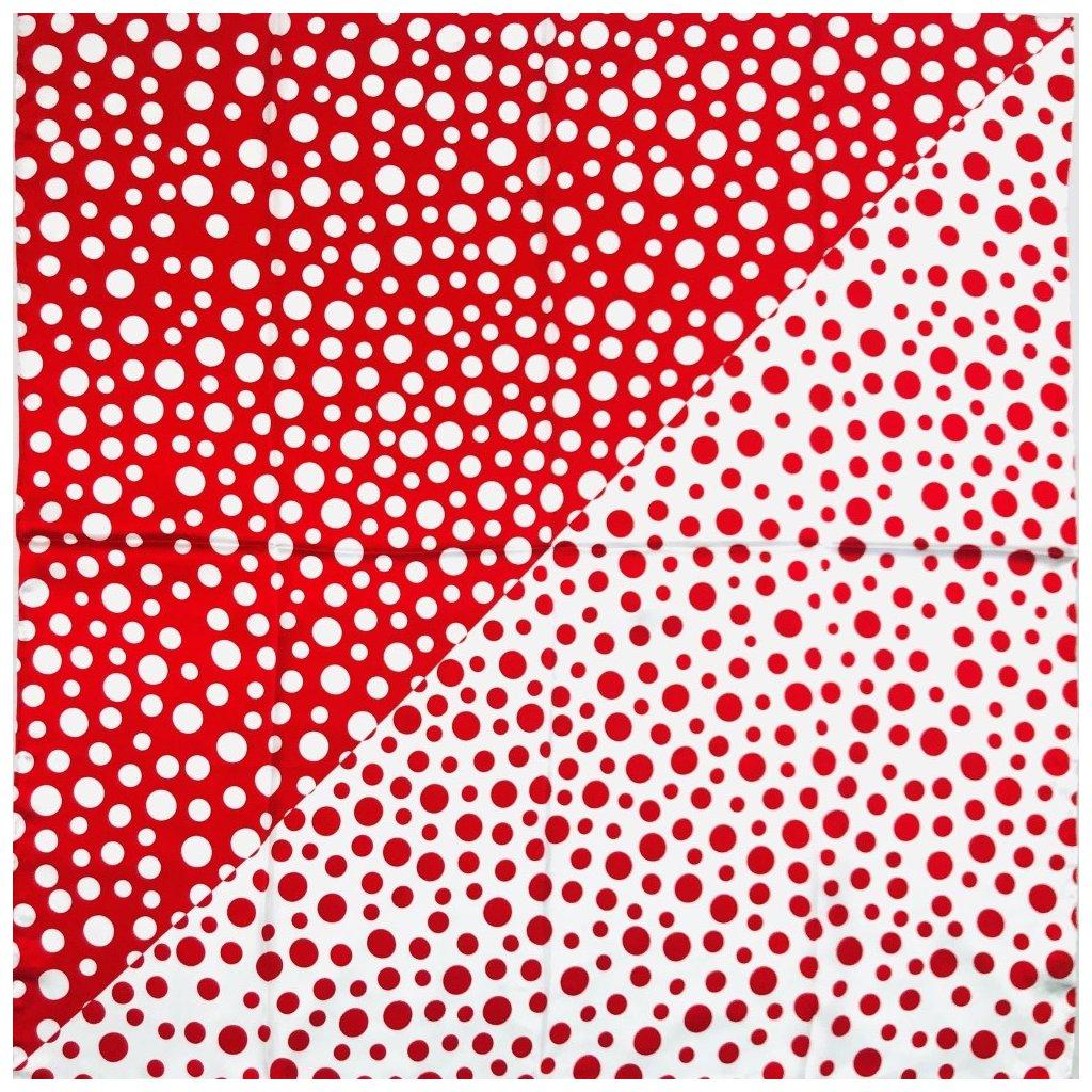 HEDVÁBNÝ ŠÁTEK - Červený a bílý puntík