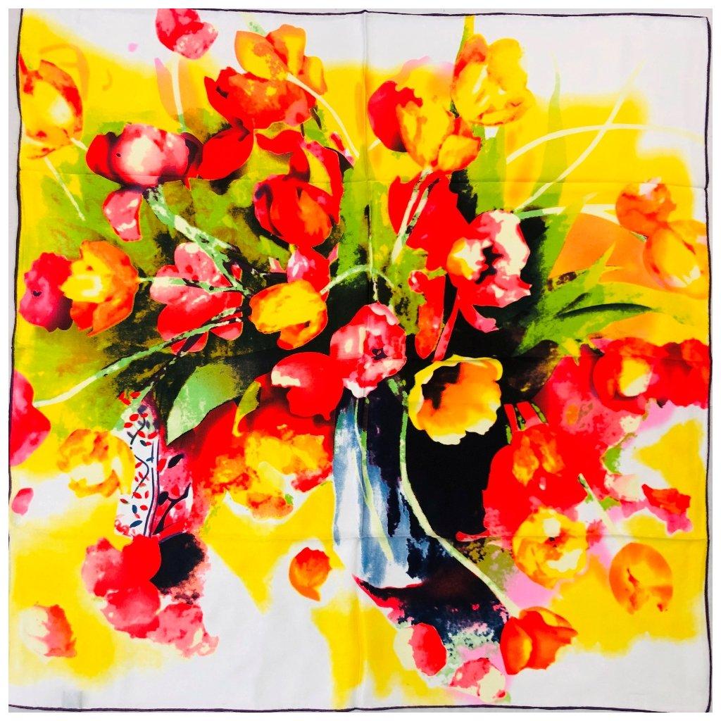 HEDVÁBNÝ ŠÁTEK - Tulipány