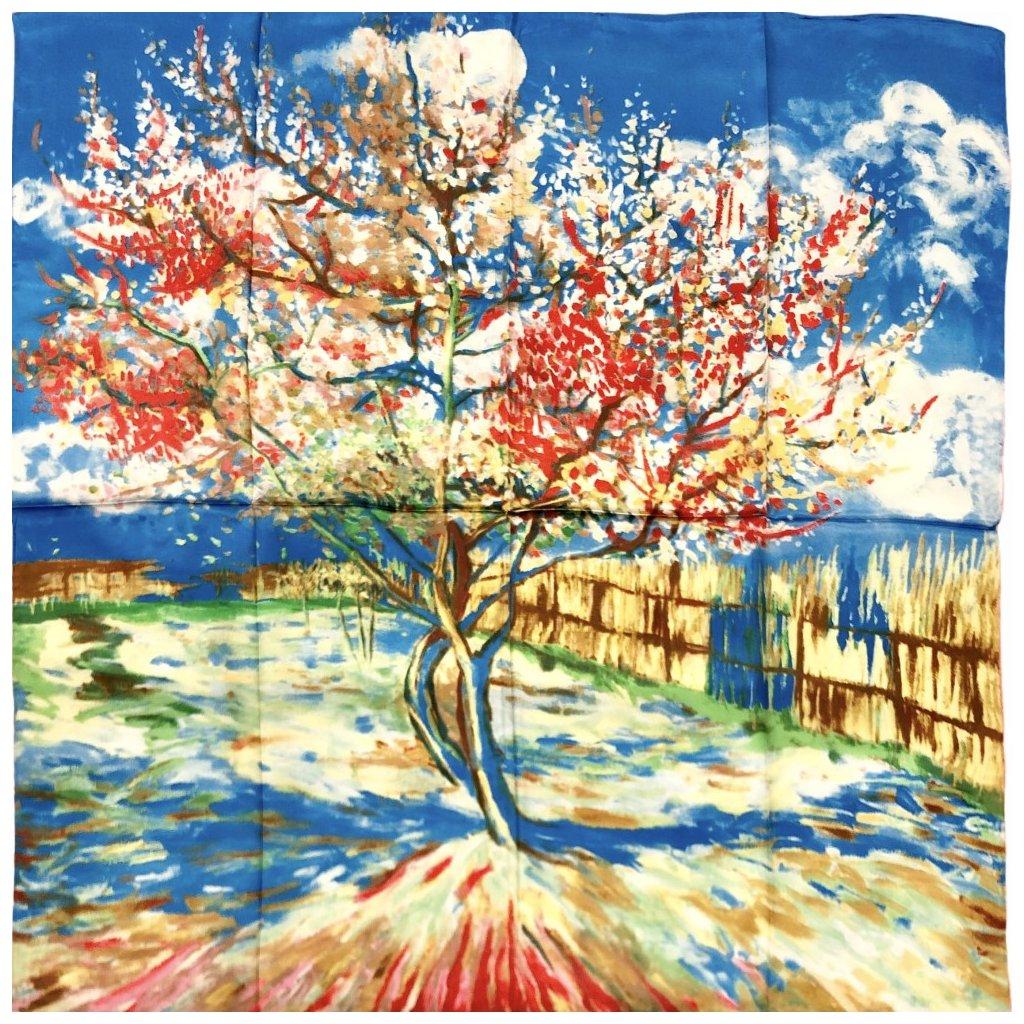 HEDVÁBNÝ ŠÁTEK Van Gogh - Kvetoucí broskvoň