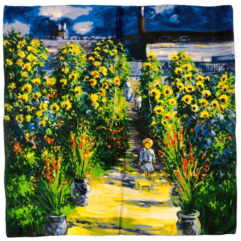 HEDVÁBNÝ ŠÁTEK Claude Monet - Monetova zahrada