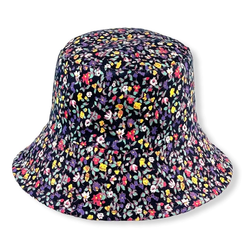 Dámský modrý klobouk se žlutými květy
