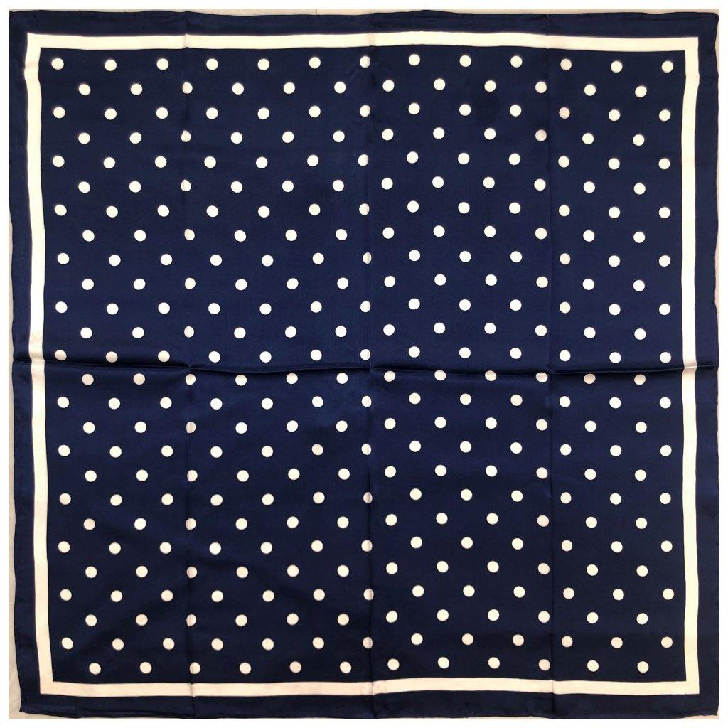 HEDVÁBNÝ ŠÁTEK - Bílý puntík na modrém podkladu