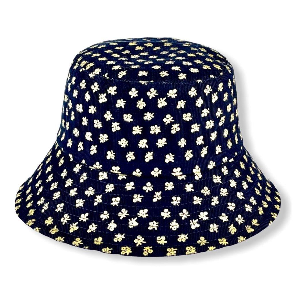 Dámský tmavě modrý klobouk s béžovými květy