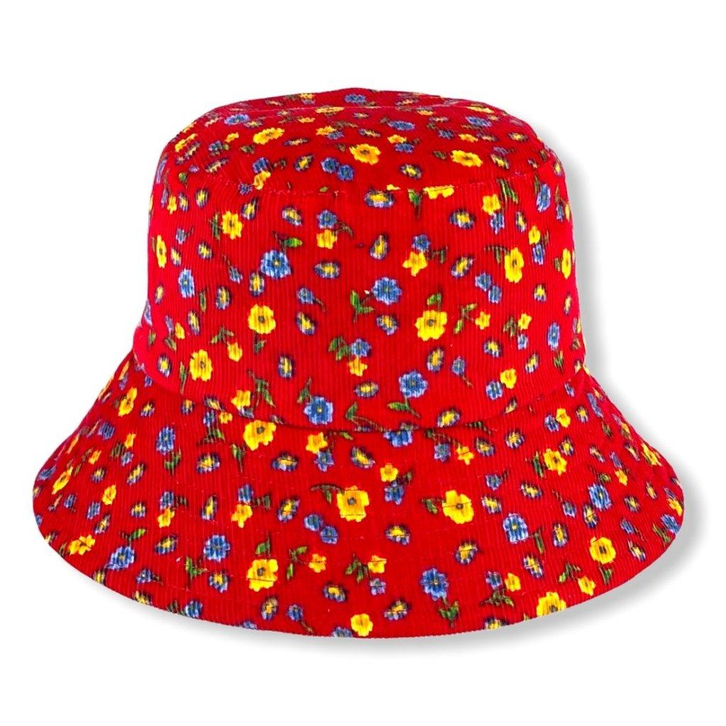 Dámský červený klobouk se žlutými květy
