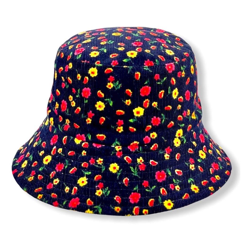 Dámský modrý klobouk s červenými květy