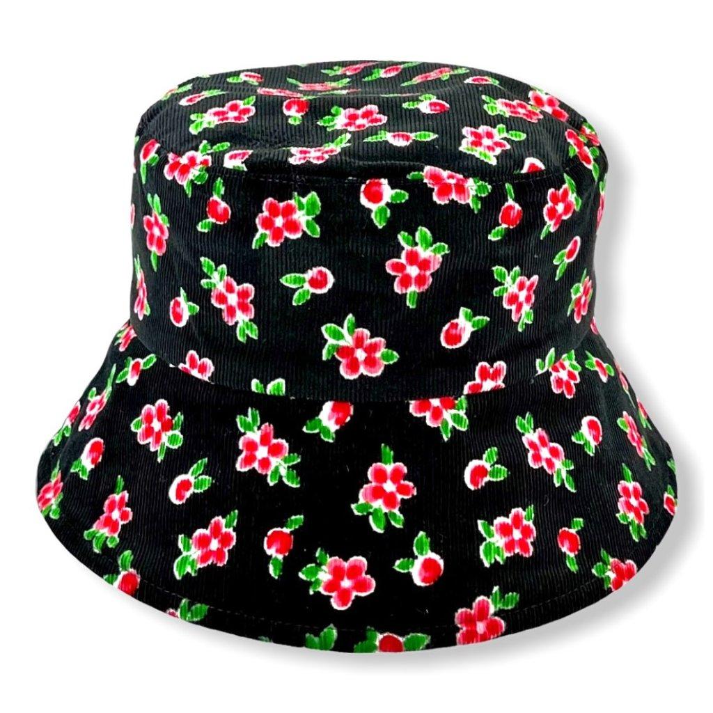 Dámský černý klobouk s červenými květy