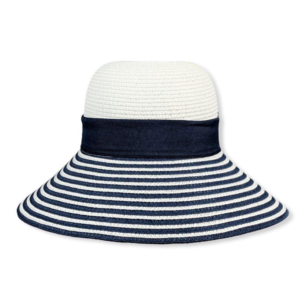 Dámský letní bílomodrý klobouk