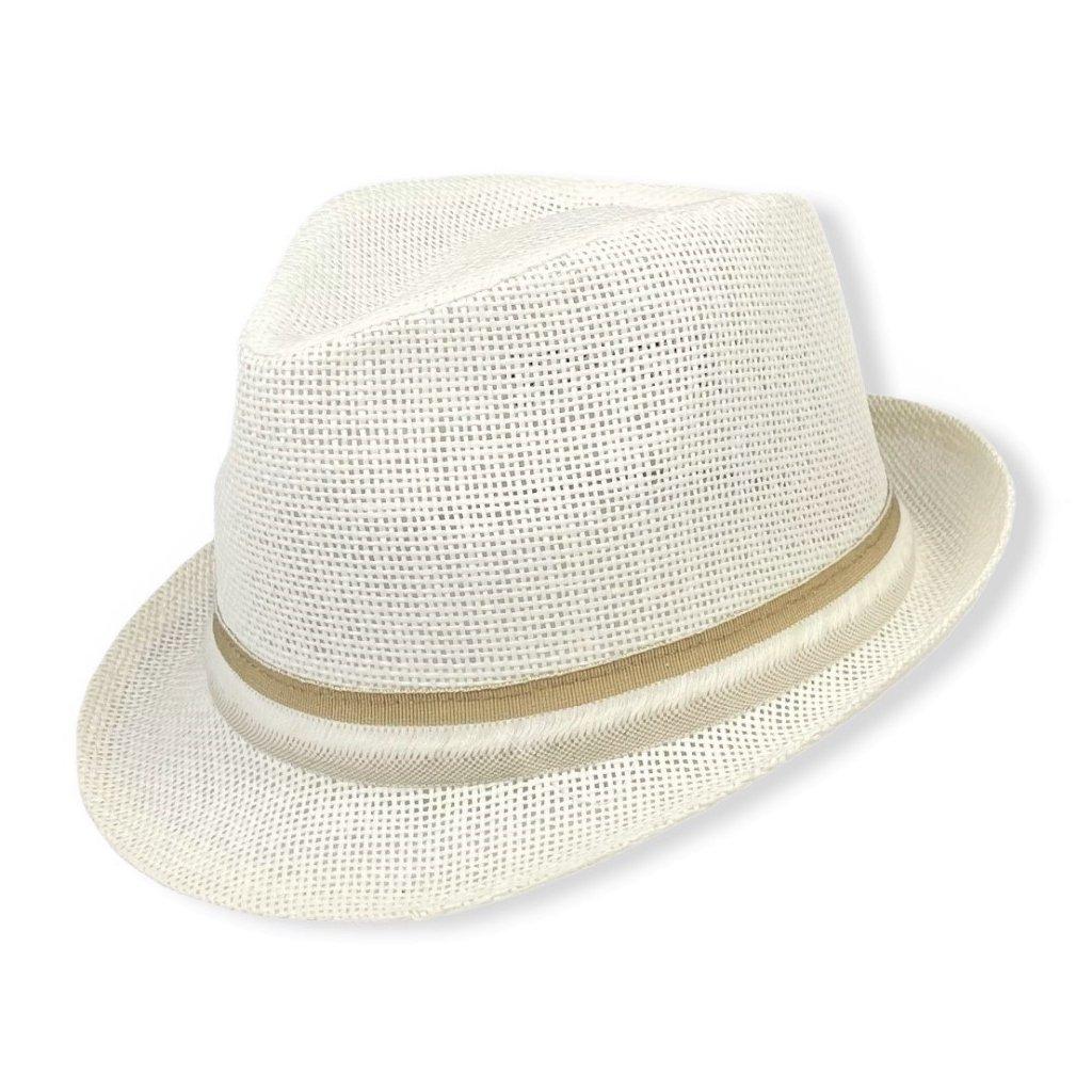 Pánský letní bílý klobouk Trilby