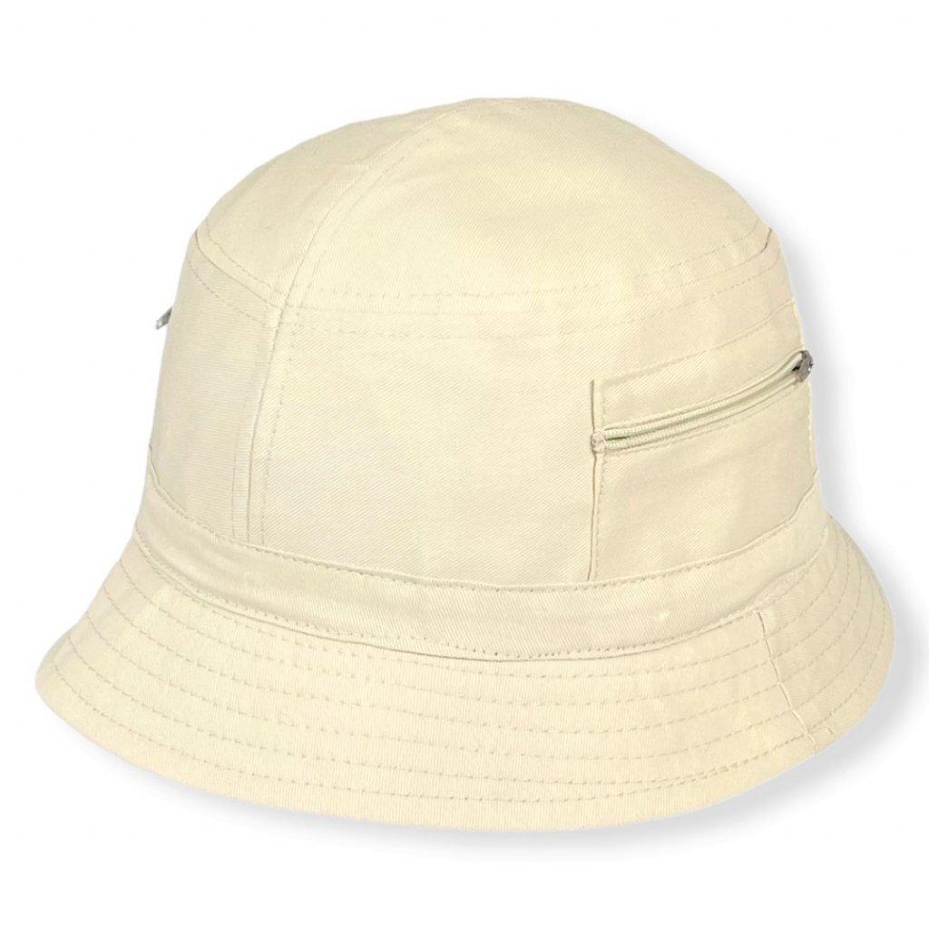 """Pánský letní bavlněný béžový klobouk """"Bucket hat"""""""