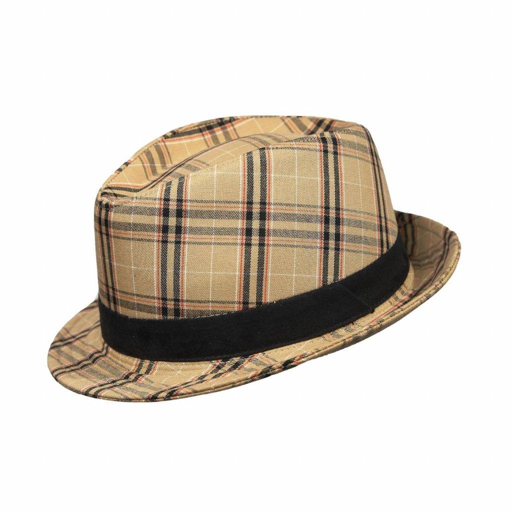 Pánský letní kostkovaný klobouk Trilby