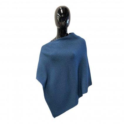 Dámské modré melírované pončo