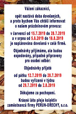 Informace o doručení zboží během prázdnin