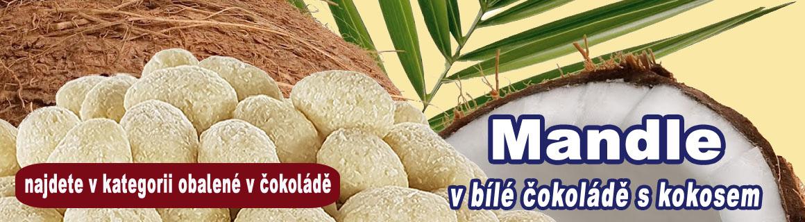 Mandle v bílé čokoládě s kokosem