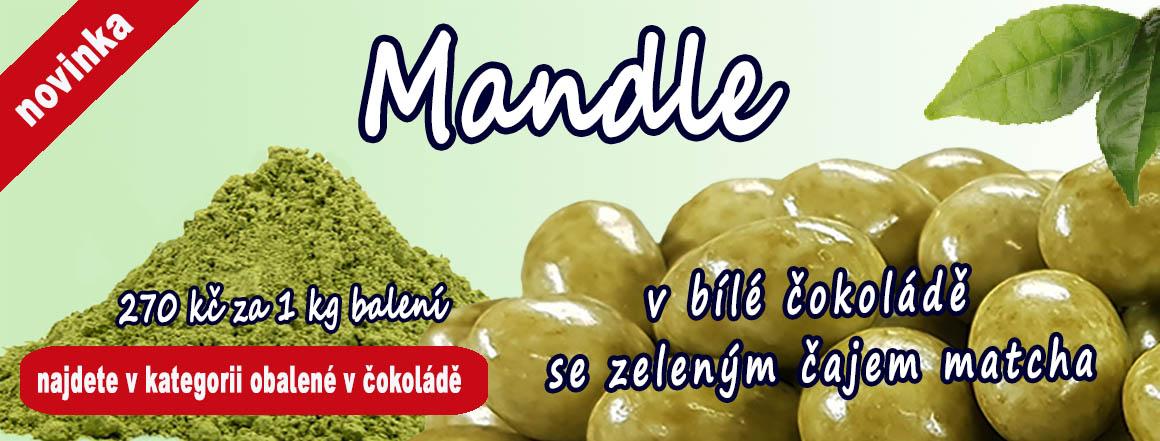 Novinka na perun-orechy.cz - Mandle v bílé čokoládě se zeleným čajem matcha