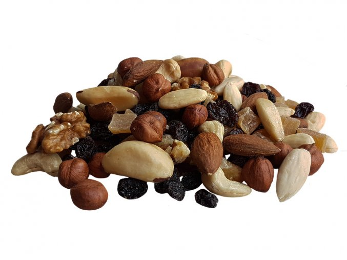 Směs ořechových jader s rozinkami a tropickým ovocem