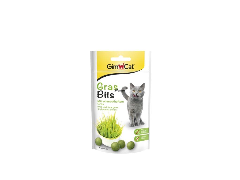 GIMCAT GRAS BITS tablety s kočičí trávou 40g