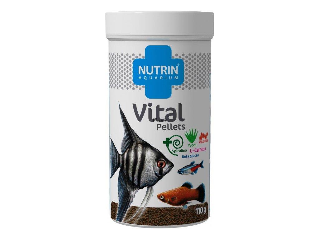 NUTRIN  Aquarium - VITAL PELLETS 110g - krmivo se zvýšeným obsahem vitamínů pro všechny druhy akvarijních ryb.