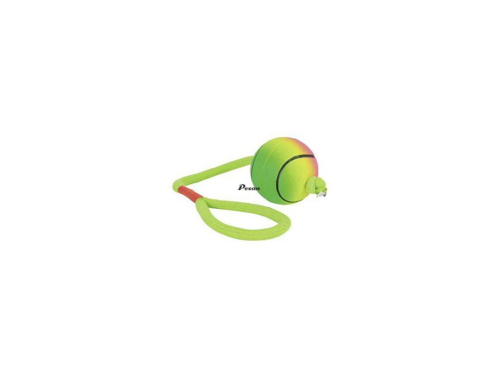 Neonový míč na šnůře mechová guma 6/30 cm