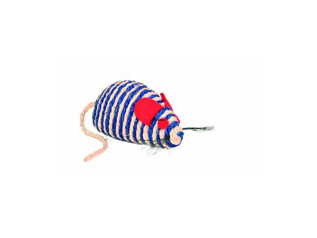 Hračka kočka Myš sisal s kuličkami 10 cm TR 1ks