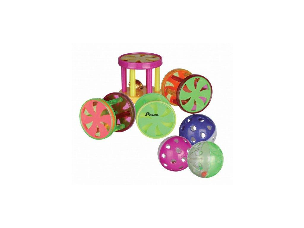Plastový míček/klec s rolničkou  4,5cm /4 cm