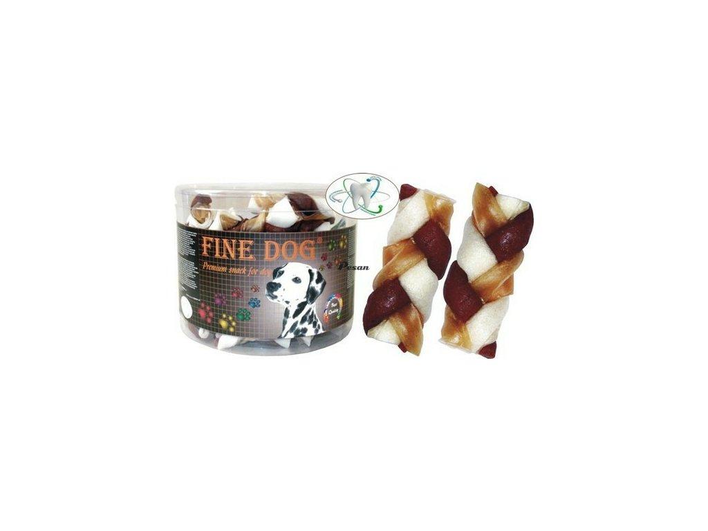FINE DOG Splétaný Copánek kuře 40ks 16001 hněd/bilý