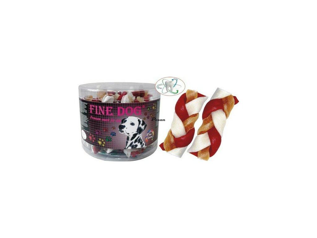 FINE DOG Splétaný Copánek beef 40ks 16400 červeno/bílý