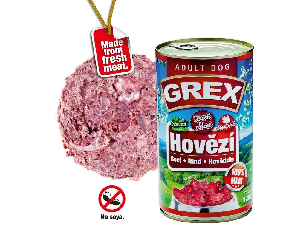 GREX konzerva  pes hovězí 1280g
