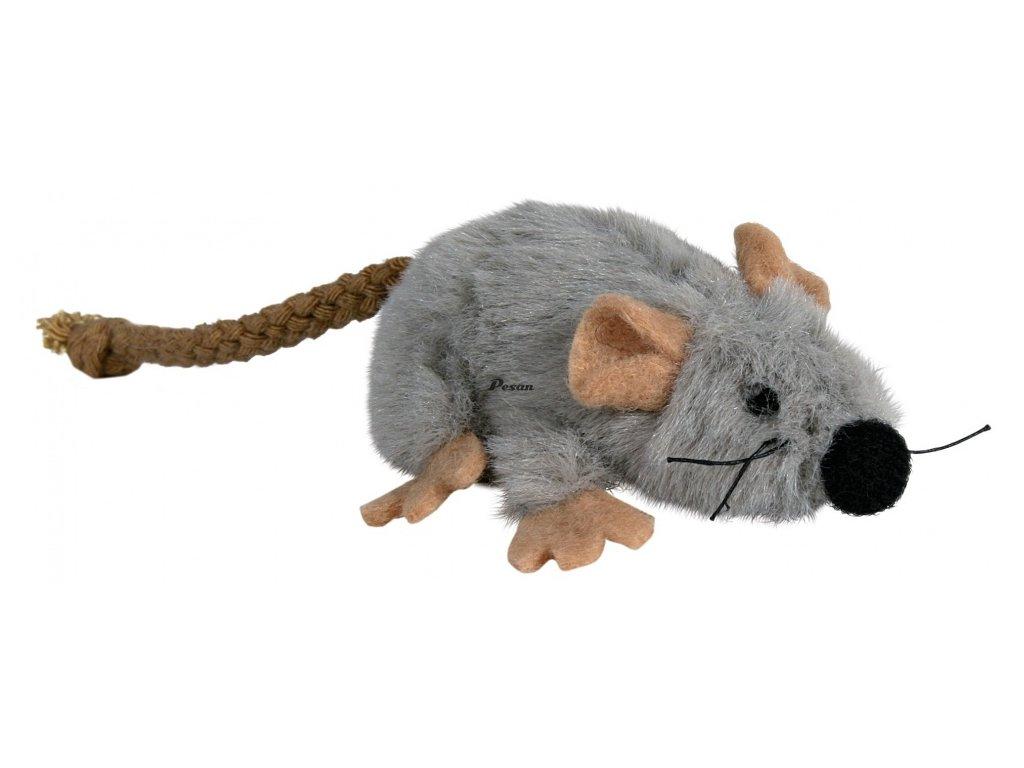 Plyšová myška šedá s catnipem 7 cm