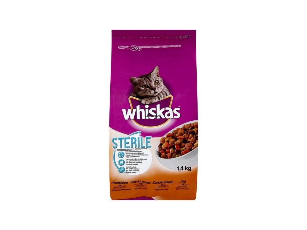 eng pl Whiskas Sterile with liver and chicken for cats neutered and after sterilization 1 4kg 78076 1