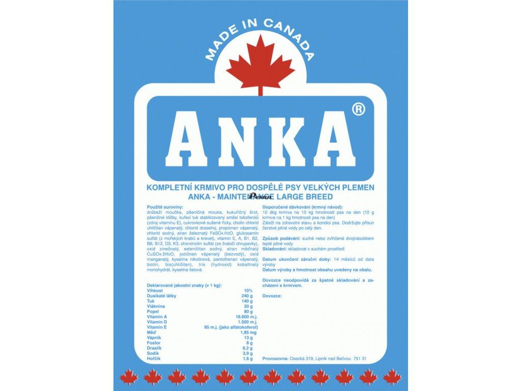 Anka Dog Maintenance Large Breed 20 kg