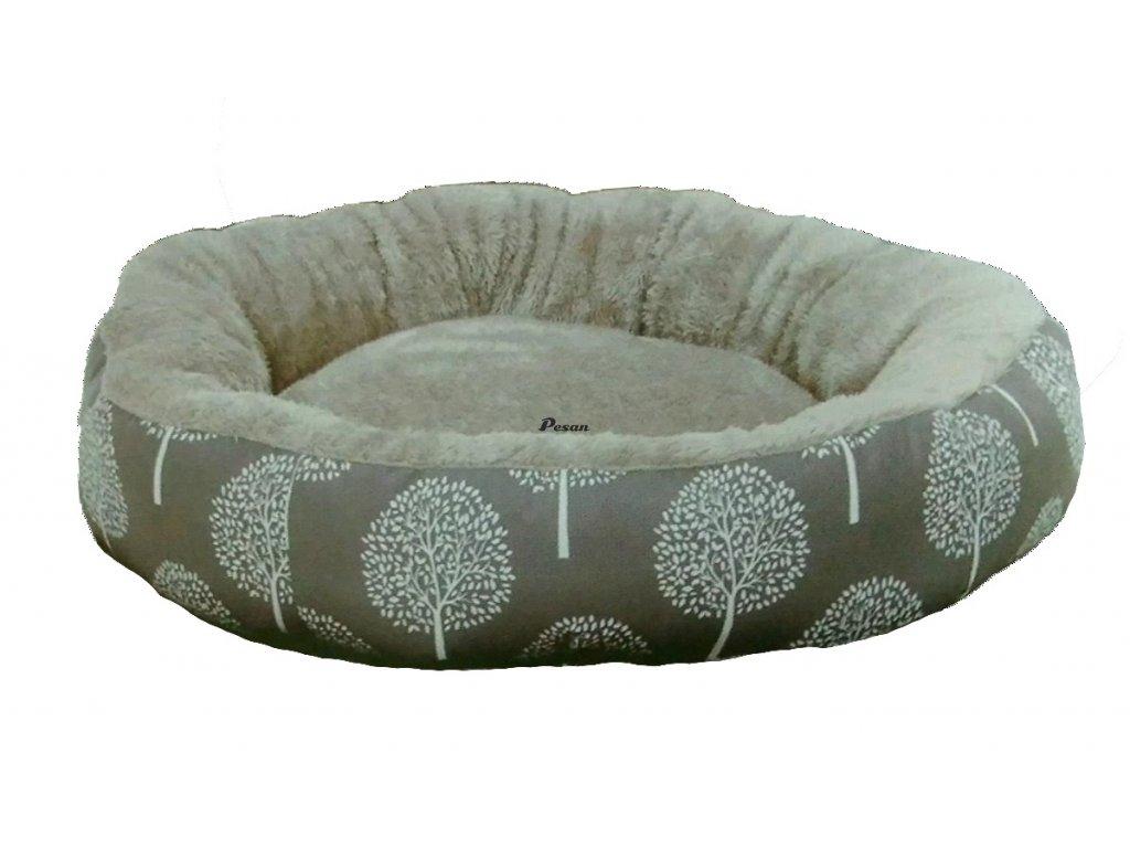 Pelíšek JUKO plyš-kruh, vzor strom S 53x10cm-14124