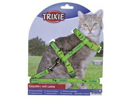 Postroj s vodítkem na kočku pošitý stužkou 22-36cm/10mm 1,2m