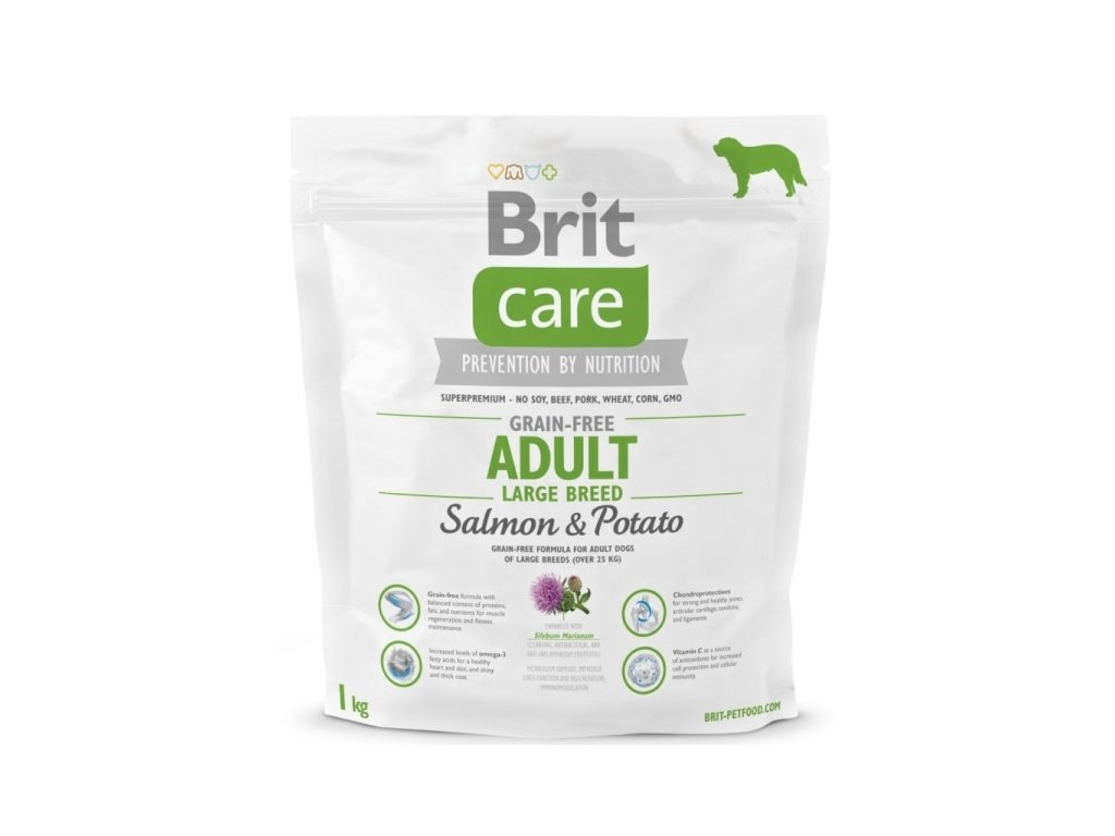 3582 brit care grain free adult large breed salmon potato 1kg