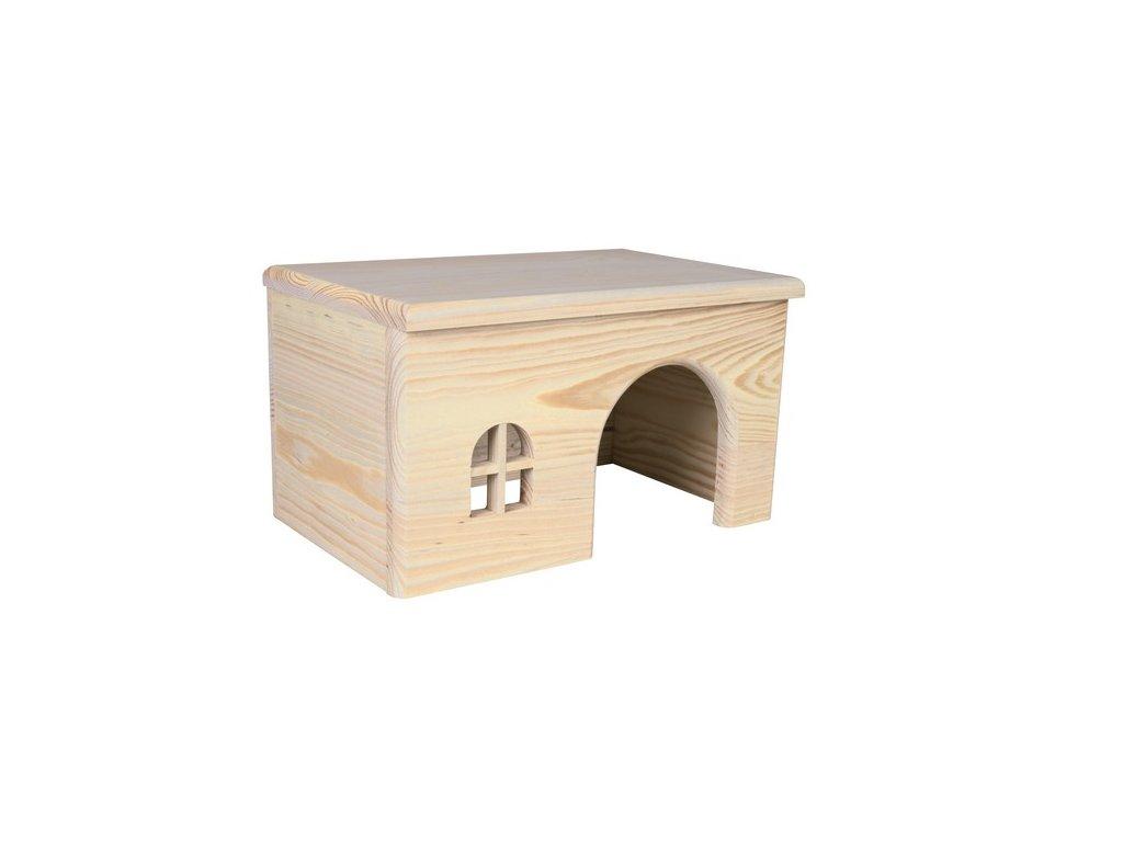 Dř. domek s rovnou střechou pro křečky 15x12x15cm