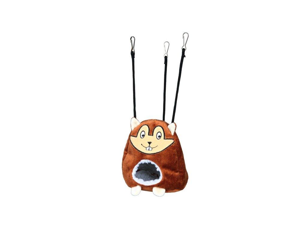 Plyšová závěsná jeskyň tvar křeček pro myši a křečky 11x14cm