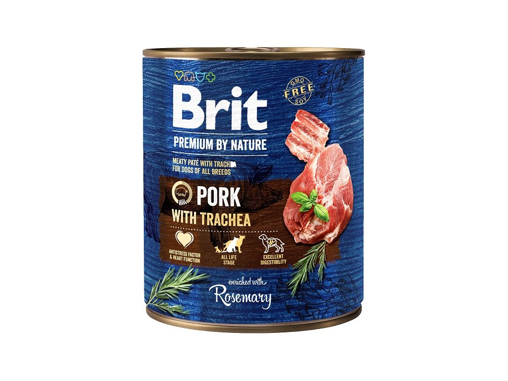 9009 brit premium by nature pork with trachea 800g 5 1 zdarma