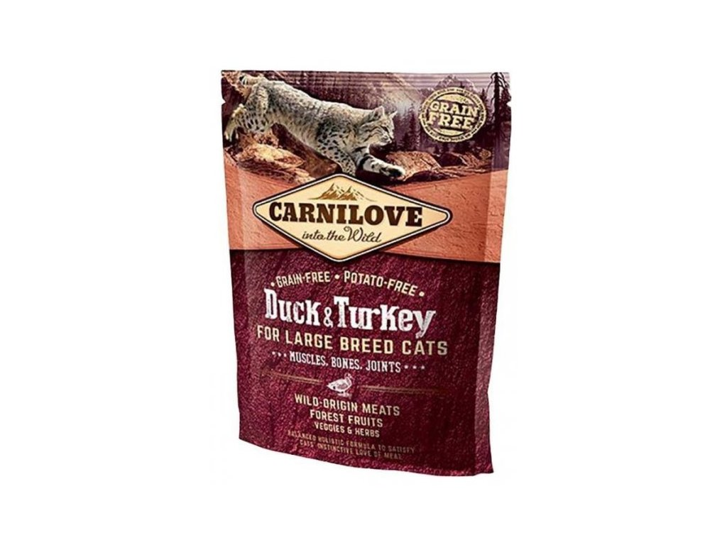 3768 carnilove cat duck turkey for adult large cats 400g