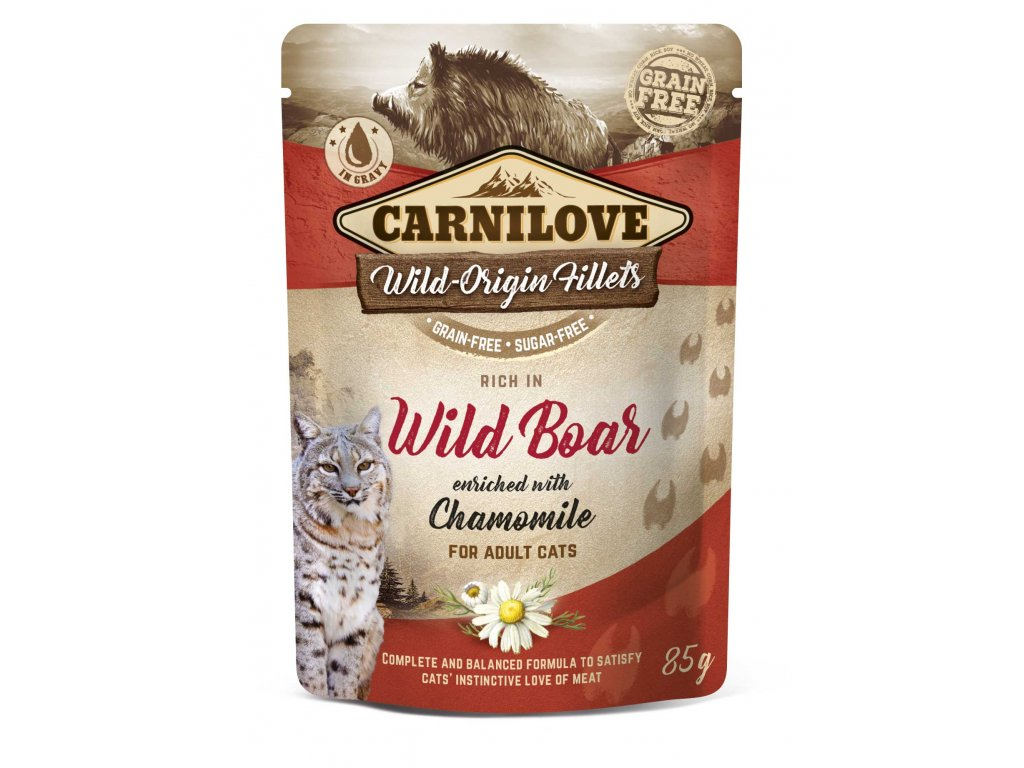 3D 18220 CL WET FOOD CAT 85g pouche WILD BOAR