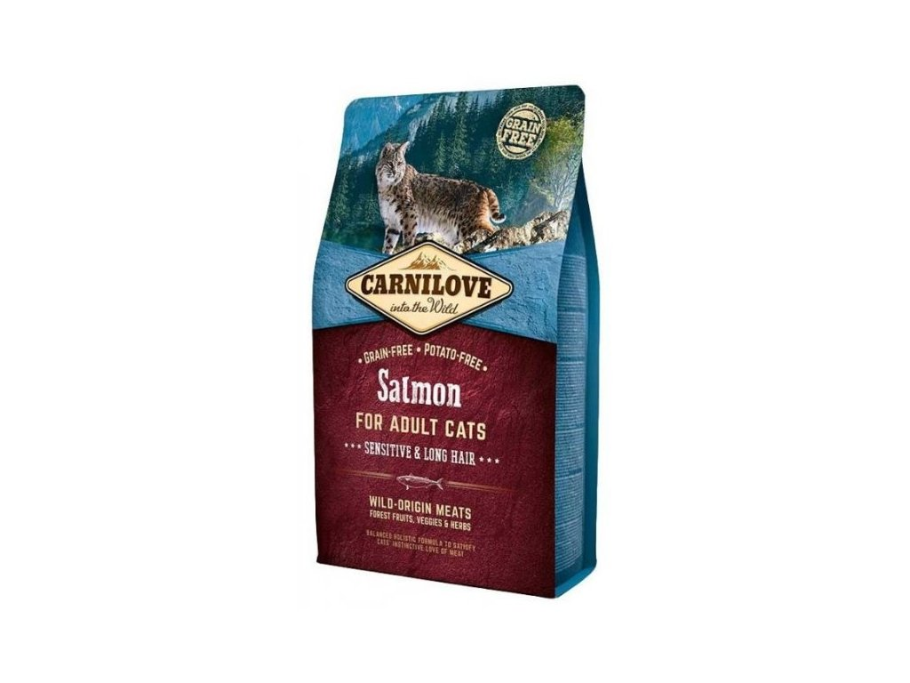 3777 carnilove cat salmon for adult cats sensitive long hair 2kg