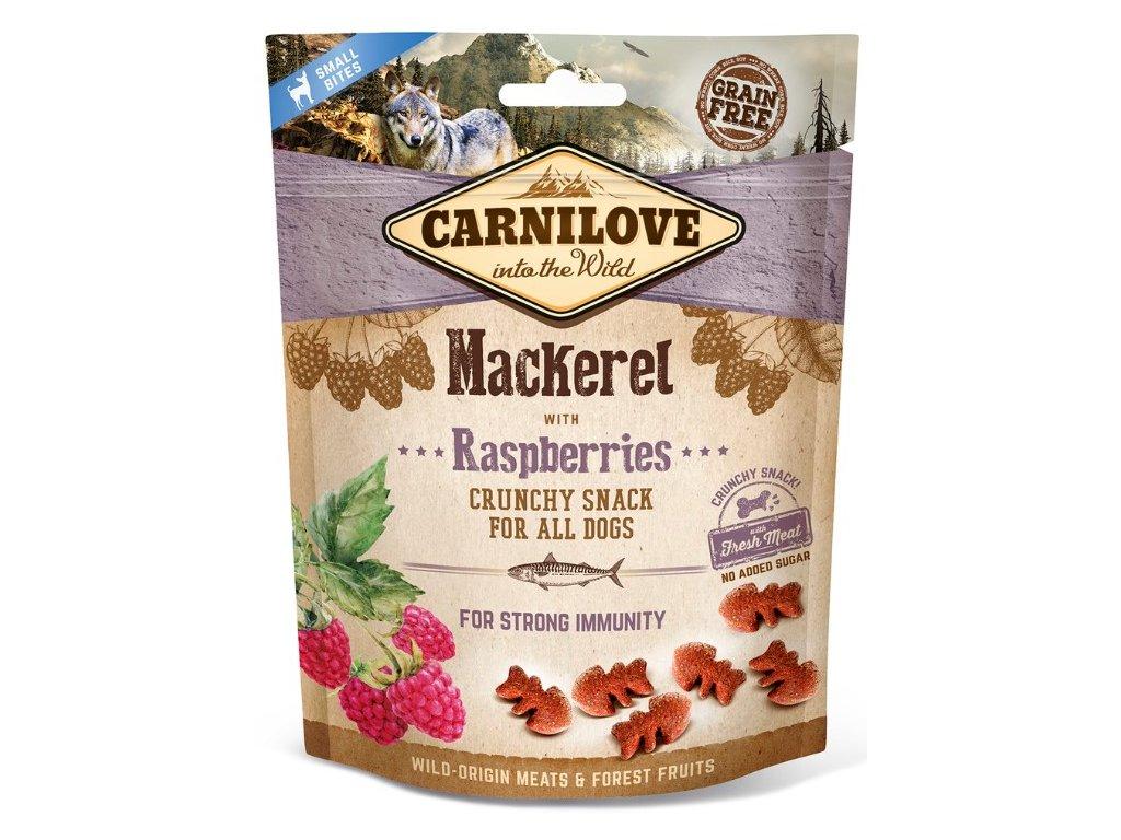 5247 carnilove dog crunchy snack mackerel raspberries 200g