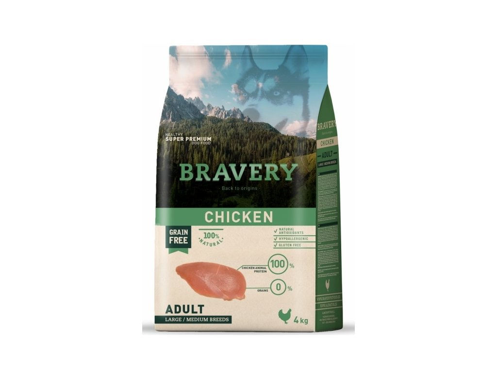 BRAVERY dog ADULT Large / Medium Grain Free chicken 4kg | Tenesco.cz