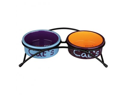 Set keramických misek se stojánkem 2 × 0,3 l / ø 12 cm světle modrá/oranžová/fialová