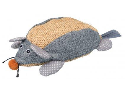 Sisalová myš, sisal/látka 30 cm přírodní/šedá
