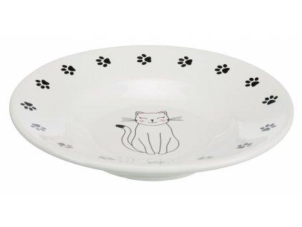 Keramická miska-talířek pro krátkonosé kočky, bílá 0,2l/15cm