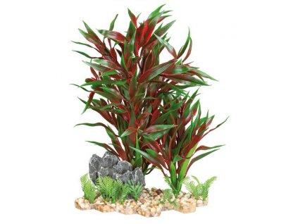 Plastová akvarijní rostlina se skalkou, na podstavci 28 cm