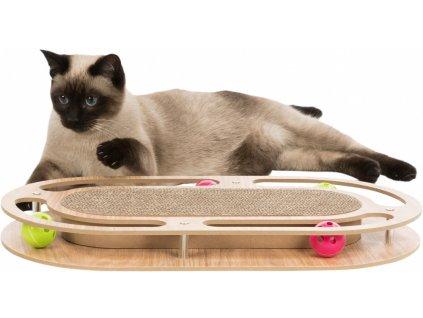 Škrábací karton v dřevěném rámu, s catnipem a hračkami, 45x4x25cm