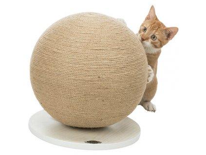 Škrábací koule na dřevěném podstavci , ø 29 × 31 cm, juta